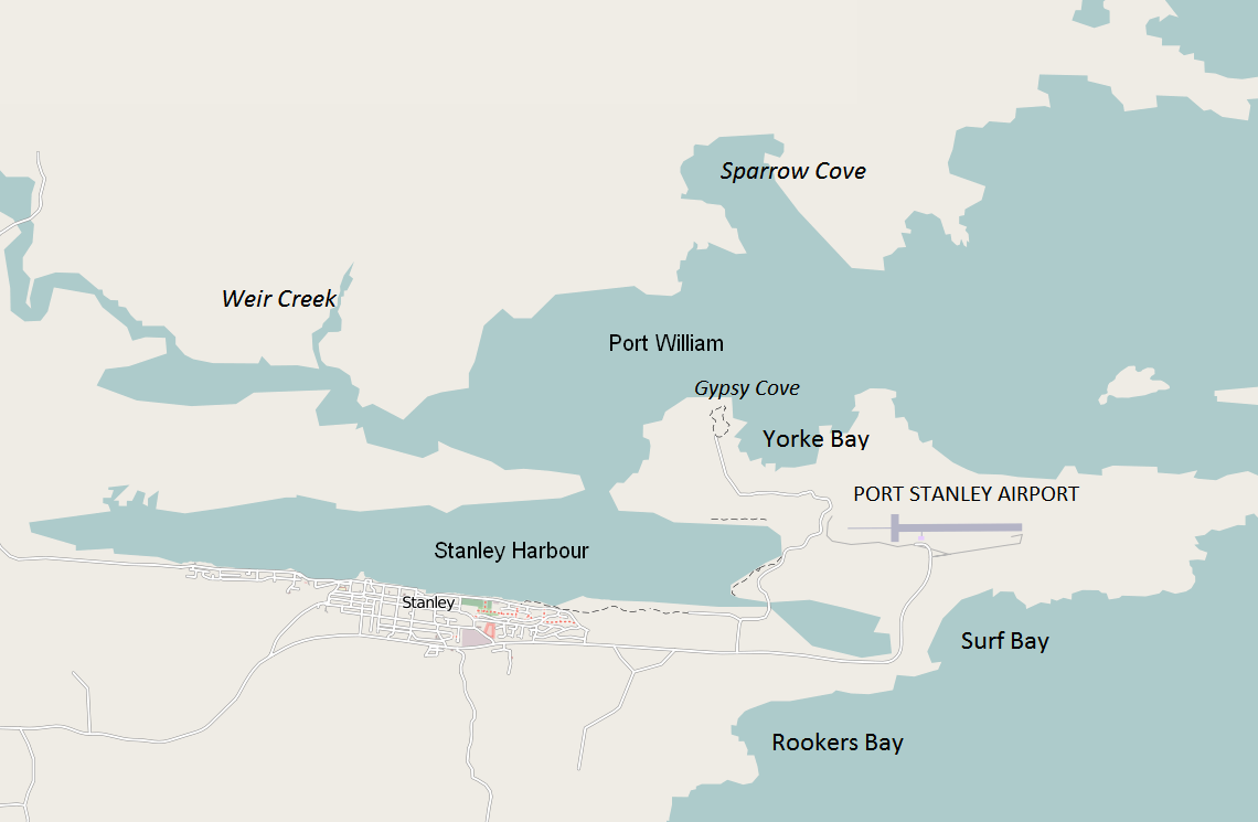 Map of the area around Post Stanley on East Falkland Island.
