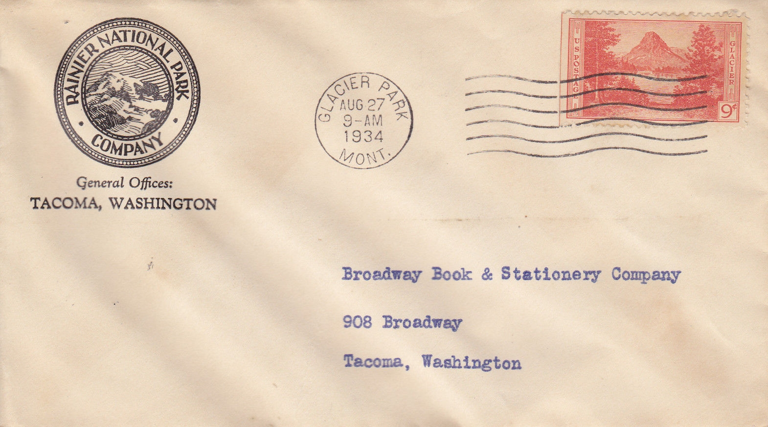 United States - Scott #748 (1934) first day cover cancelled at Glacier Park, Montana