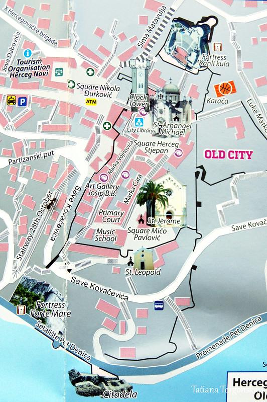 Туристическая карта Старого города в Херцег Нови