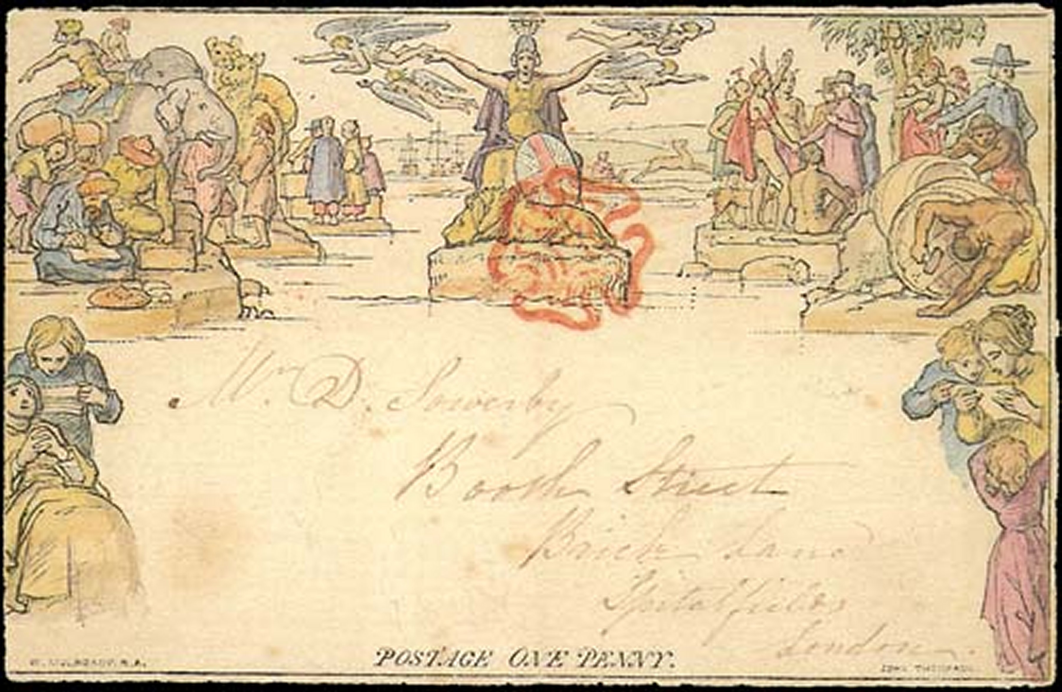 Mulready envelope cancelled with red Maltese cross. [NIMC-2018]