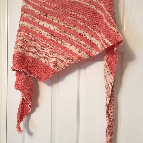 My Local Yarn Shawl by Casapinka is off my needles! I've even worn it when it hasn't been soaked or blocked!