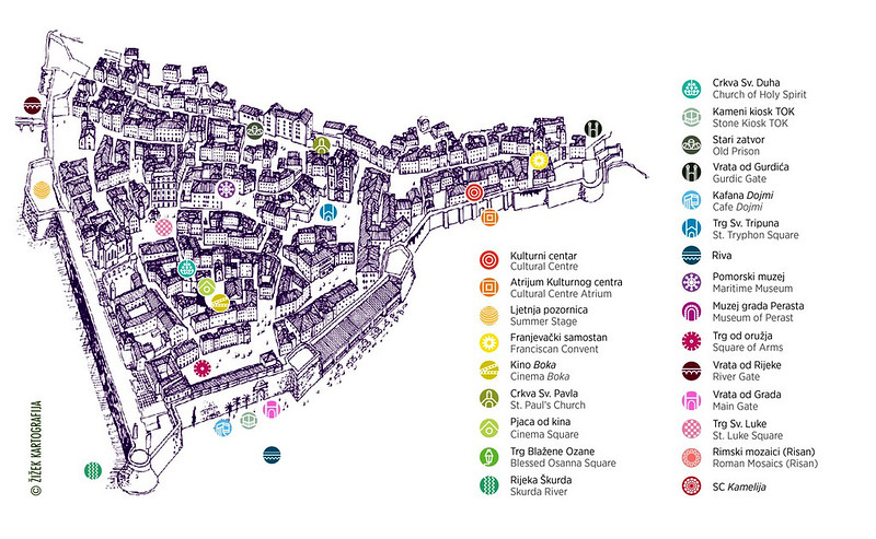 Карта Старого Котора с основными достопримечательностями и важными учреждениями