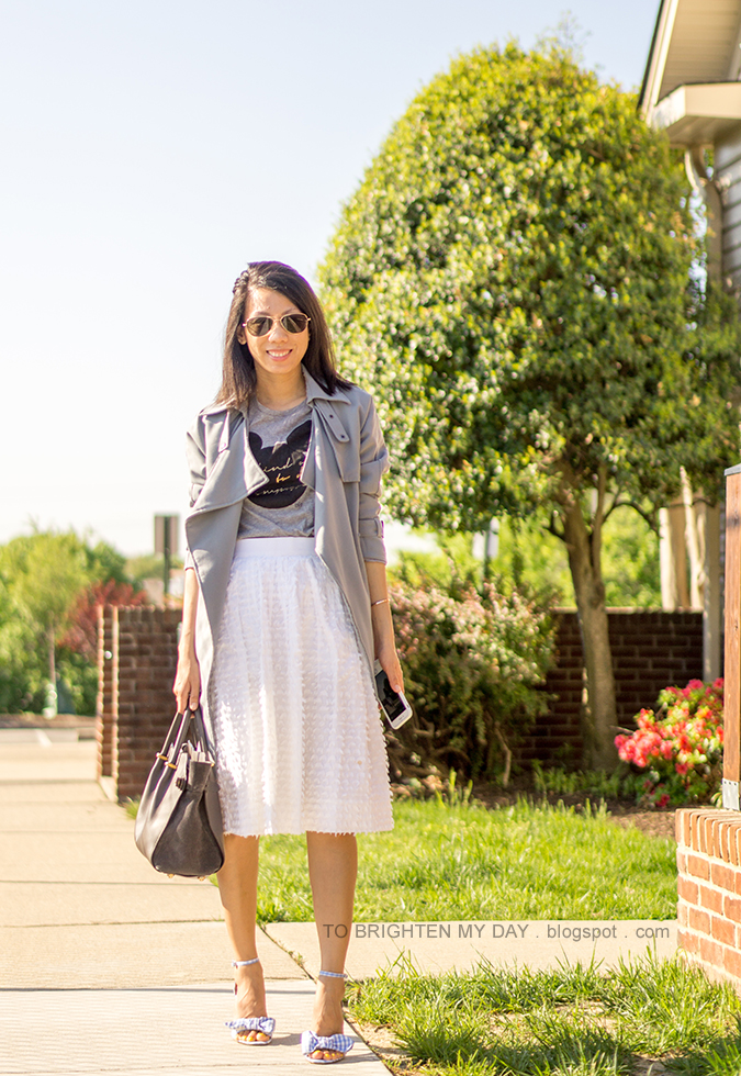 draped trench jacket, gray graphic tee, white midi skirt, gray tote, baby blue gingham heels with bow