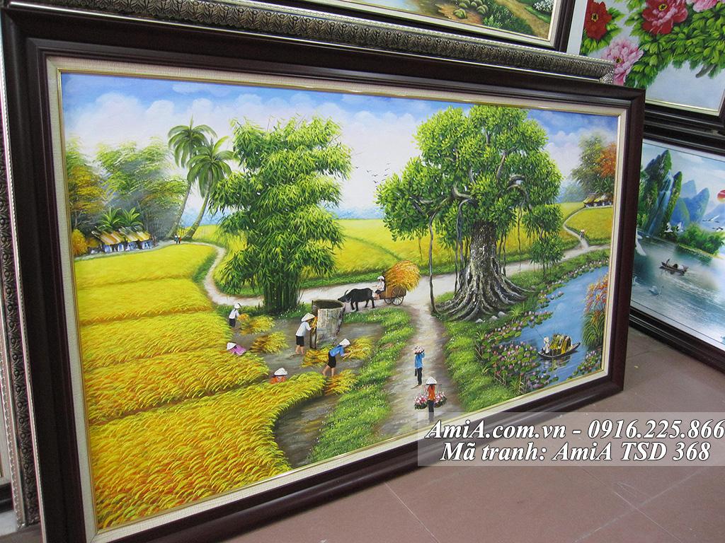 Tranh vẽ sơn dầu phong cảnh làng quê em gặt lúa