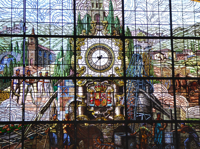 The glazing in the train station in Bilbao, Basque Country is an amazing work in stained glass
