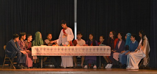 The Last Supper recreated during the Passion Play on Holy Thursday at Nativity School, El Monte