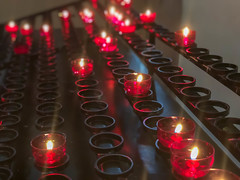 Candles in a church. Flare