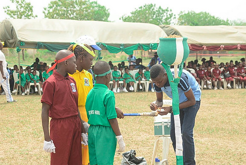The lighting of the flame at the biennial inter-house sports competition at St Joseph's Nursery and Primary School, Iseyin
