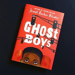 "#currentlyreading Ghost Boys. Picked this one up because of the content. Publisher's summary: ""After seventh-grader Jerome is shot by a white police officer, he observes the aftermath of his death and meets the ghosts of other fallen black boys including"