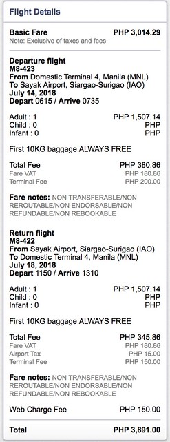 Manila to Siargao SkyJet Airline July 14 to 18, 2018 Roundtrip