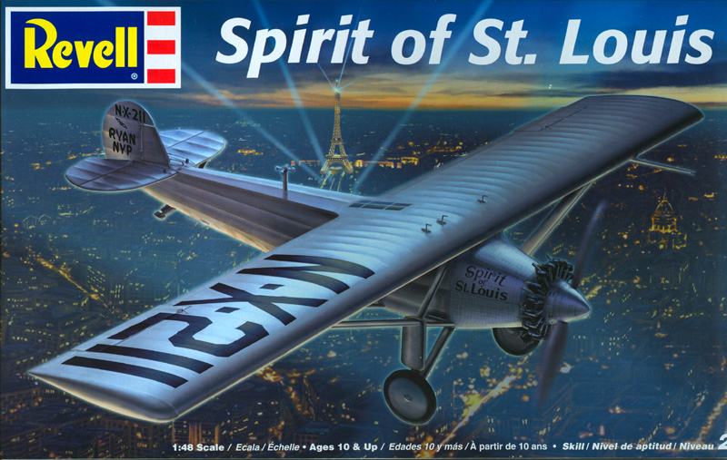 Revell model kit box with an artist's impression of the Spirit of St. Louis airborne over Paris, France.
