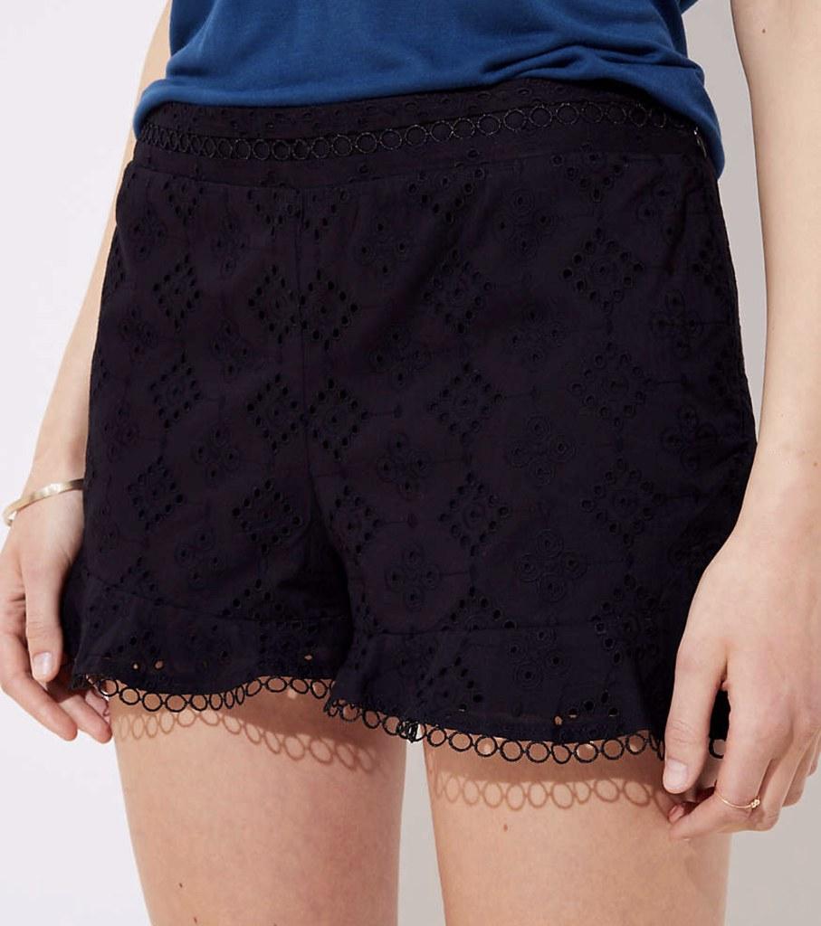 LOFT Eyelet Flounce Shorts