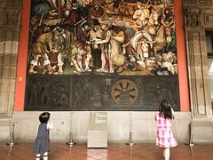 Admiring Diego Rivera's murals