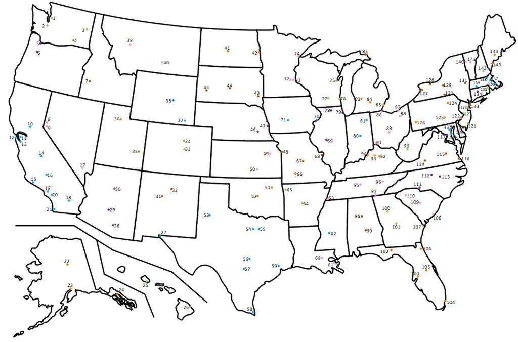 Dots on Map: 144 US Cities Quiz - By purplebackpack89