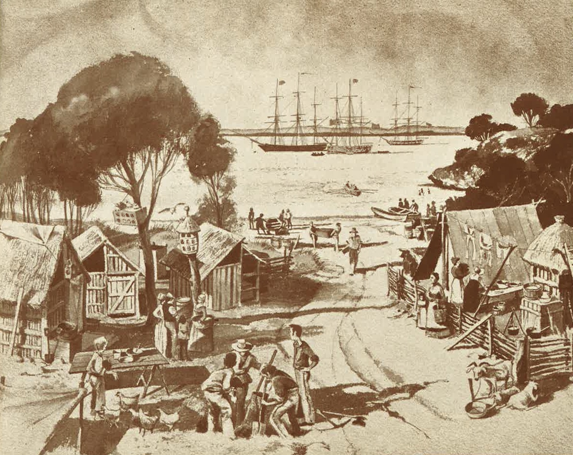Stirling's camp on Garden Island, Western Australia, 1829.