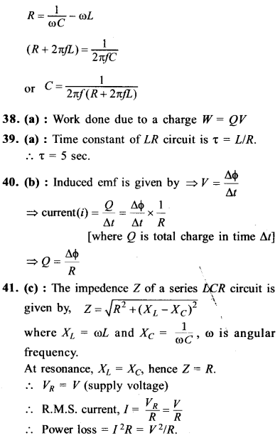 NEET AIPMT Physics Chapter Wise Solutions - Electromagnetic Induction and Alternating Current explanation 37.1,38,39,40,41