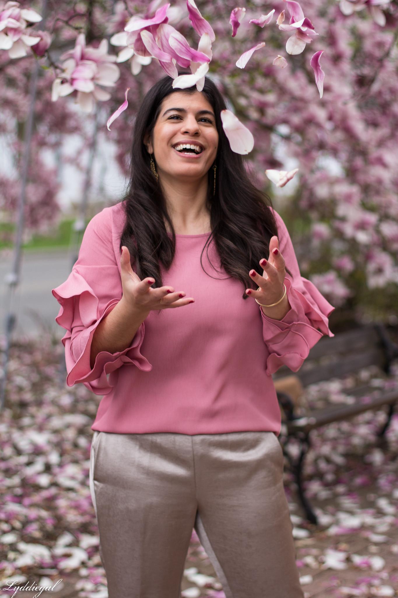 pink ruffled sleeve blouse, satin pants, suede ring bag-12.jpg