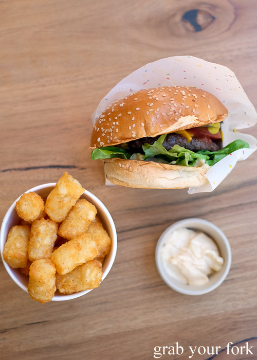 8bit with cheese burger and potato gems at Steam Mill Lane Sydney
