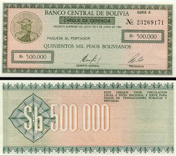 500 000 Pesos Bolivianos Bolívia 1984, P189