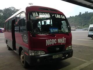 バスでラオカイからハザンへ