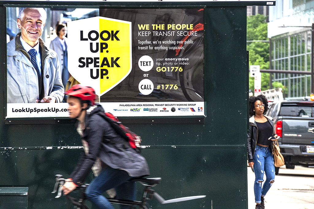 LOOK UP SPEAK UP sign on 5-12-18--Center City
