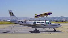 Piper Aerostar 600 N7542S c/n 60-0173-077 and Blimp N2A c/n 007 Livermore Airport California 2018.