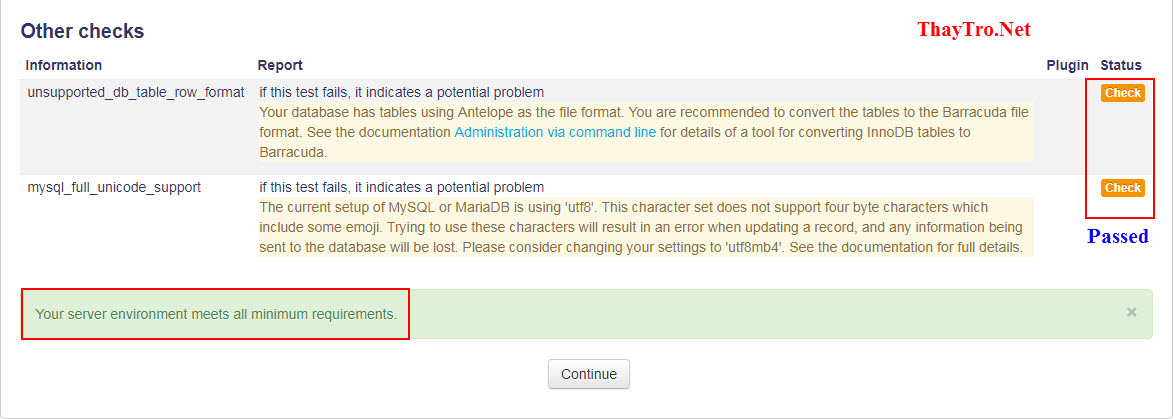 check environment in moodle