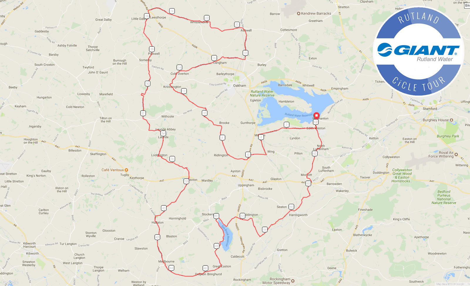 Rutland CiCLE Tour short route, 2018.
