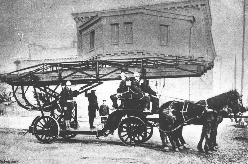 Пожарные лестницы XIX века лестницы, Интересная, сколько, подъемным, лестница, передвижная, развертывали, человек, высота, развернутом, конструкция, какая, Интересно, конец, пожарной, транспортировки, механизмом