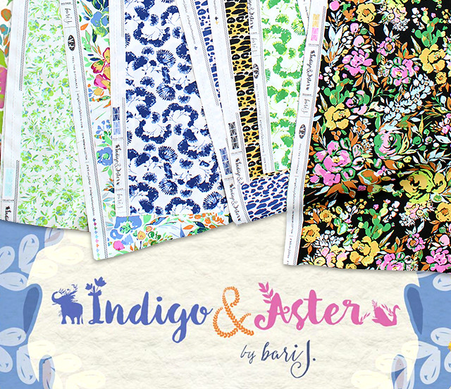 Art Gallery Fabrics Indigo & Aster Collection by Bari J.