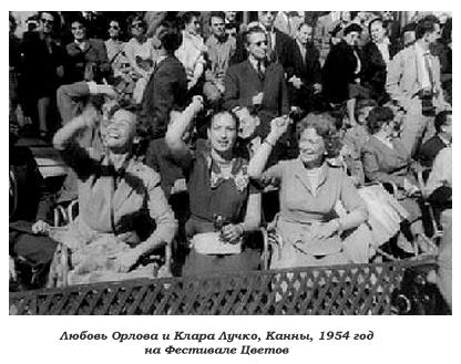 Клачра Лучко и Любовь Орлова в Каннах