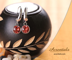 Dark Peach Crystal Dangling Earrings made with elements from Swarovski