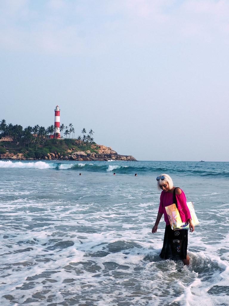 kovalam beach india kerala lighthouse selfie_effected