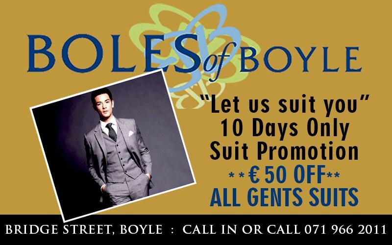 Boles €50 off gents suits