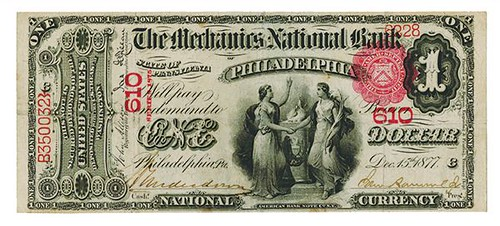 Mechaniscs NB Philadelphia $1 National Currency