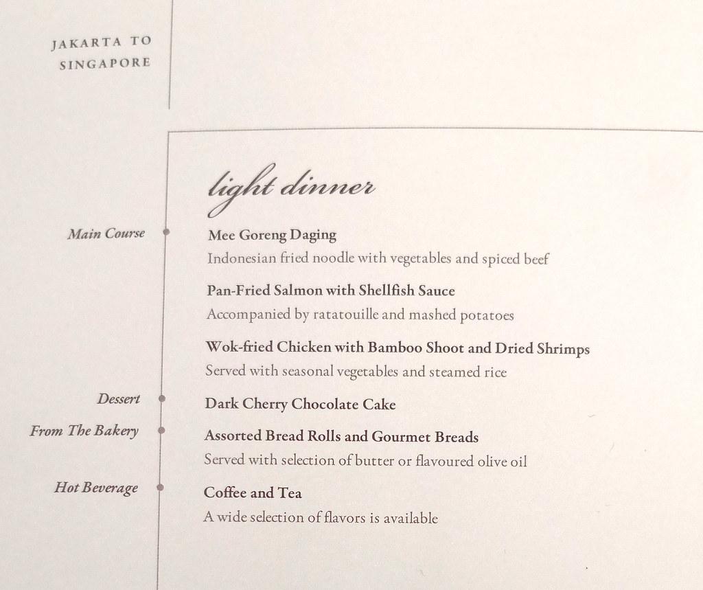 Business class menu