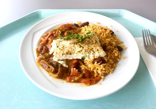 Stewed coalfish caribbean style with creole bean rice / Gedünsteter Seelachs auf karibische Art mit kreolischem Bohnenreis
