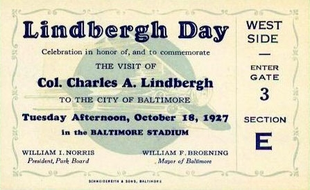 Grandstand ticket for the Lindbergh Day festivities at Baltimore, Maryland's stadium on October 18, 1927.