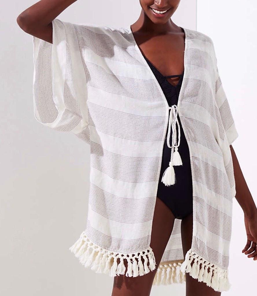 LOFT Beach Shimmer Striped Tassel Kimono