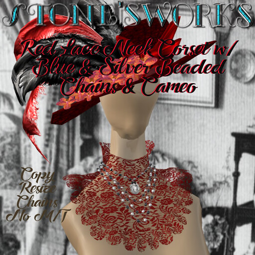 NeckCorset Red Lace w CameoStone's Works_texture - TeleportHub.com Live!