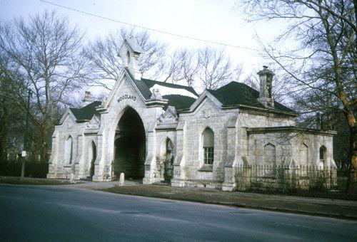 Woodland Cemetery gatehouse - Cleveland