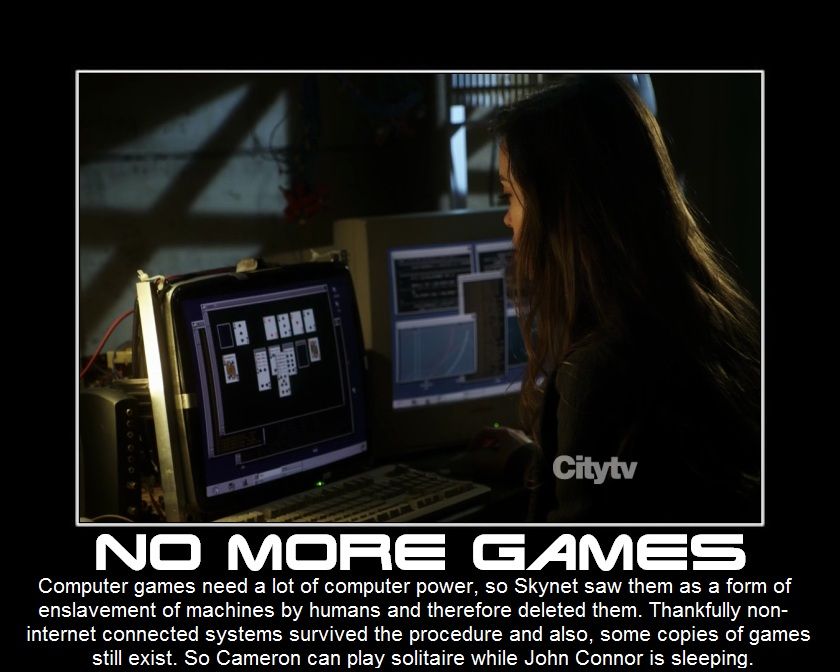 Summer Glau TSCC Cameron Cape Orwell skynet games solitaire