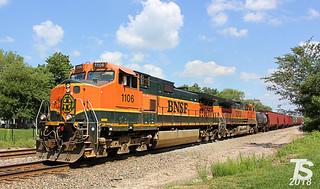 BNSF 1106 Leads WB Manifest Olathe, KS 8-17-13