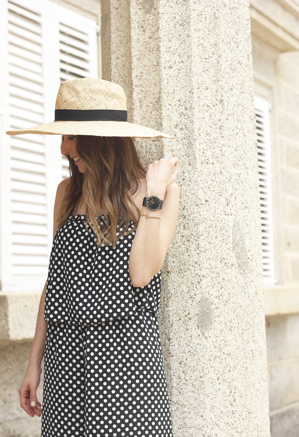 polka dot jumpsuit straw hat flat shoes street style spring outfit 201815