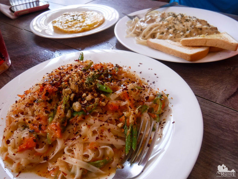 Vegitarian pasta at Orange Cafe