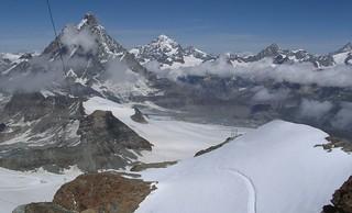 000705 Switzerland - Heading towards the Klein Matterhorn (3883m) via Furi (1864m) & Trockener Steg (2939m) cable car stations on our 4 kilometre cable car ride