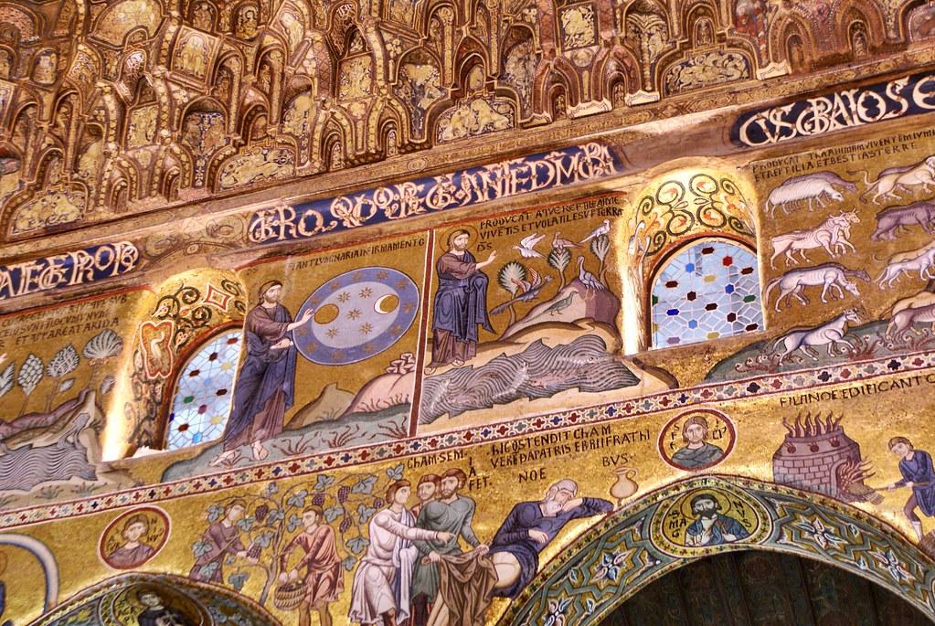 Fresque illustrant la Genèse dans la chapelle Palatine de Palerme.