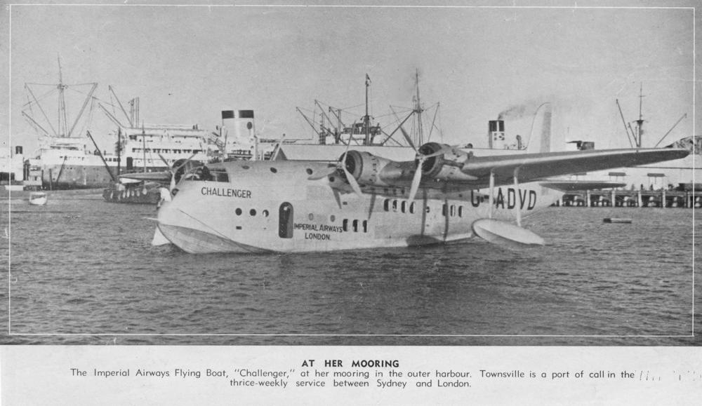 Queensland Imperial Airways Flying Boat in the outer harbour in Townsville. This service operated three times a week between London and Sydney. Photo taken on December 1, 1938.