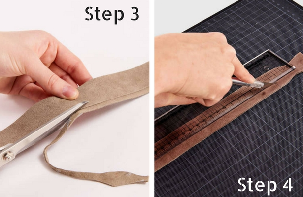 Diy leather braided keychain sewing blog burdastyle step 3 cut back excess leather completely fandeluxe Gallery