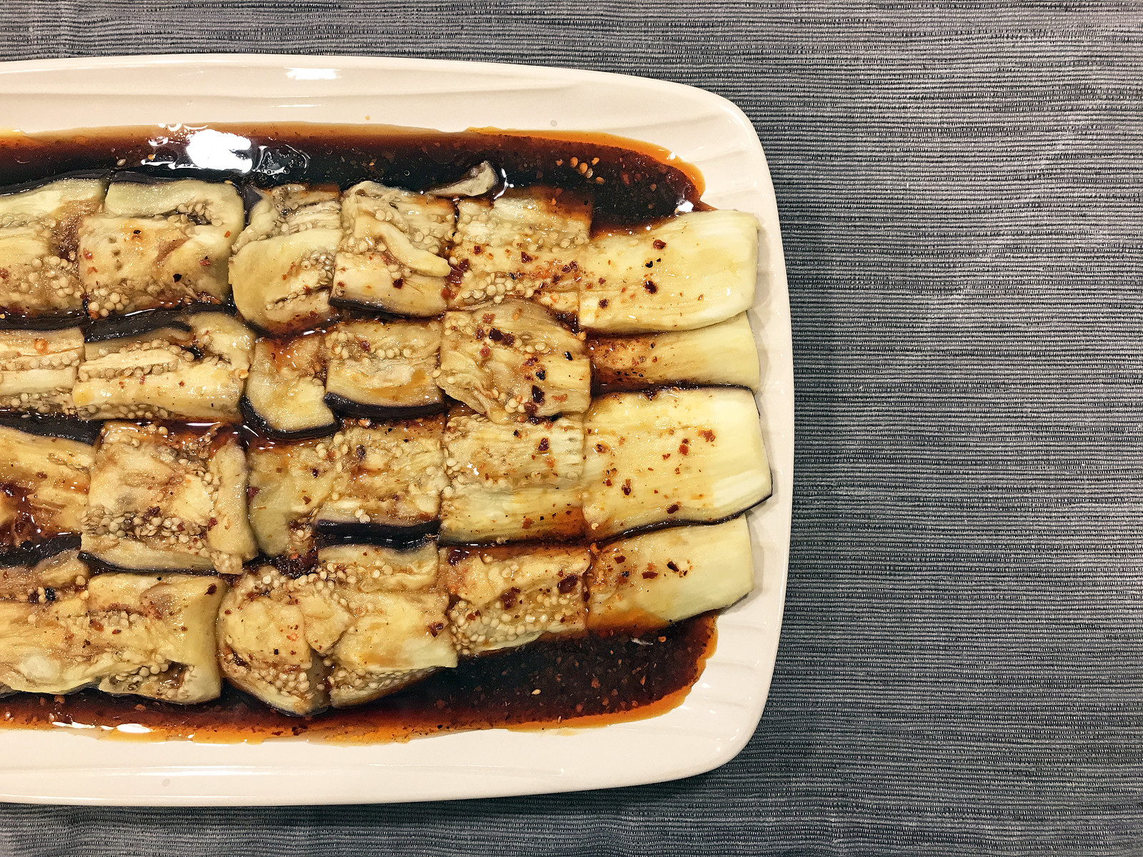 Steamed eggplant with chili sauce